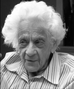 Black and white image of 90 year old woman